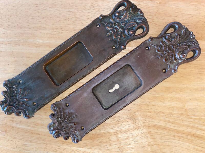 2 Rare Antique Cast Bronze Pocket Door Pulls / Plates - Russell & Erwin
