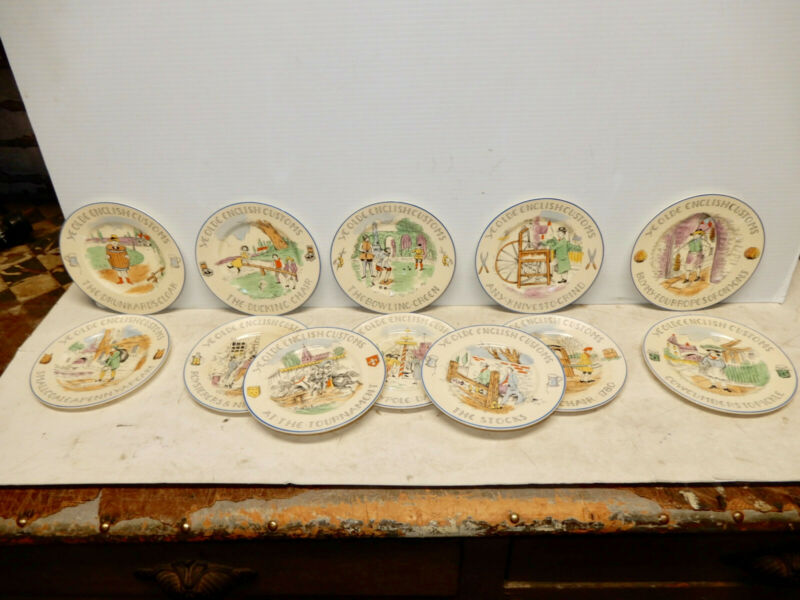 VINTAGE SET 12 DISHES BURGESS AND LEIGH YE OLDE ENGLISH CUSTOMS