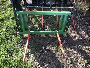 Two HLA Bale Spears JD and Skid Steer Mount NEW!