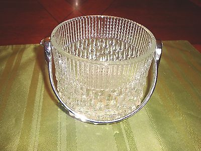 Glass Candy Dish Metal Handle Basket Serving flower Bowl decorative collectible
