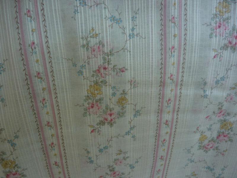 Yuwa Dimity Lawn Tiny Roses Candlelit Soft Hand Doll Lingerie AQUA Stripe Fabric