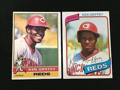 dcdb08ff17 KEN GRIFFEY 1976 & 1980 TOPPS CINCINNATI REDS BASEBALL CARDS