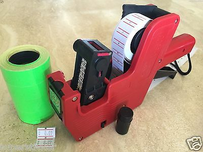 Us Seller Mx-5500 8 Digits Price Tag Gun Labeler 2000 Green Tags Labels 1 Ink