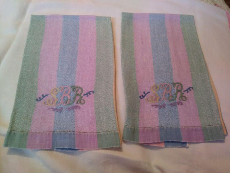 "Pretty Set of Heavy Linen Hand Towels Rainbow Pattern Initials (SBR) 21.5 by 15"""