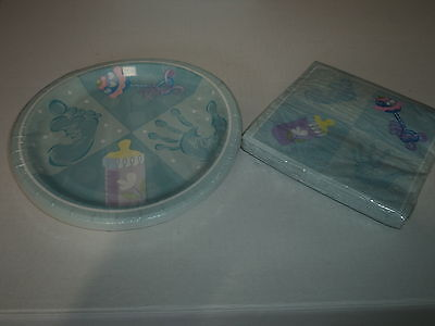 Baby Blue Baby Shower Paper Plates And Matching Paper Napkins Baby Shower Paper Plates Napkins