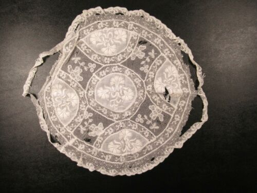 Antique Handmade Embroidered Lace Doily White Round