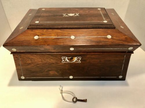 Antique English Sarcophagus Shape Rosewood Box with Mother of Pearl