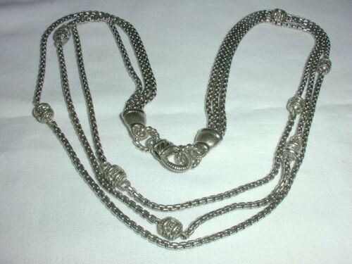 SPARKLING~ JUDITH RIPKA 3 CHAIN CZ STATION STERLING SILVER NECKLACE!