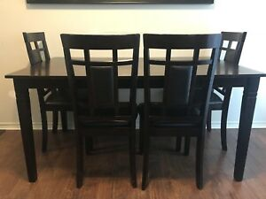 Espresso Dining Table + 4 Chairs