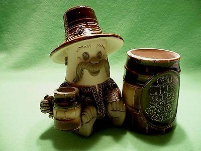Vintage European art pottery CIGARETTE and MATCH HOLDER.Open stein. Open barrel.