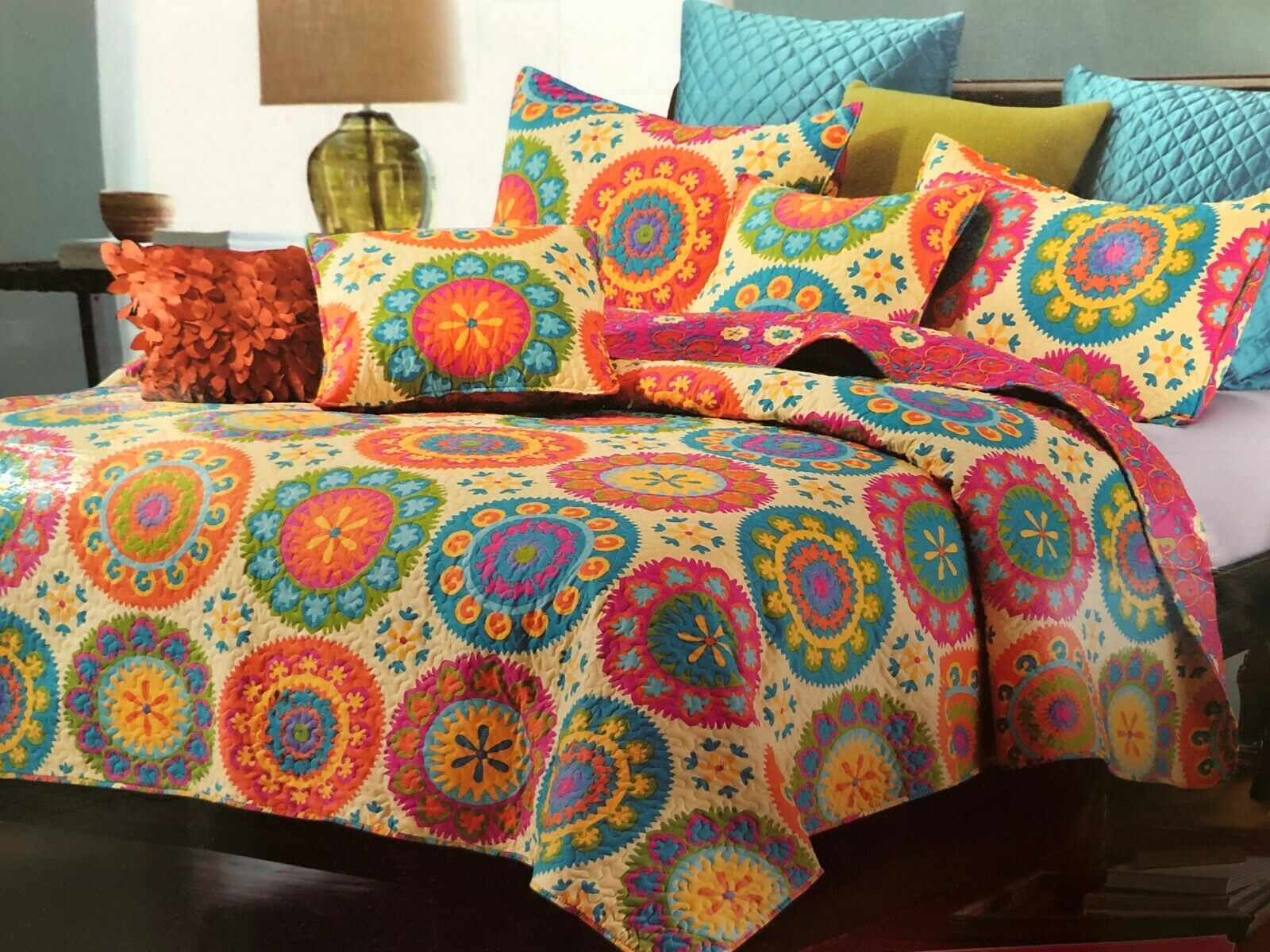 Virah Bella® Collection - Suri Orange Printed Quilt Set - F