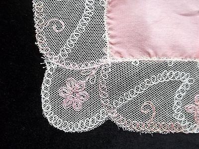 Vintage Pink Wedding Hankie Wide Lace Edge Handkerchief Bridal Hanky 416