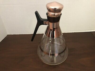Vintage Mid-Century Glass Carafe Copper Top Coffee Juice Water Pitcher
