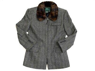 Faux Silk Coat (Ralph Lauren Womens Wool Silk Tweed Jacket Coat Faux Fur Collar Zip Size 4 (S))