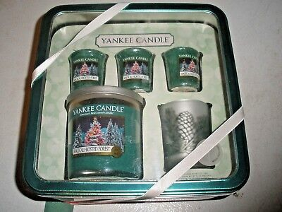 NEW Box Set Yankee Candles MAGICAL FROSTED FOREST 3 votives, 7 oz jar, glass hol