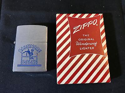 1958 Championship Year Zippo Cigarette Lighter The Baltimore Colts In Box