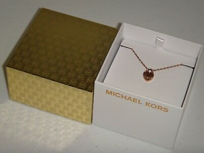 Michael Kors Women's Rose Gold Necklace MK Logo Heart MKJ7027791 Crystals + BOX