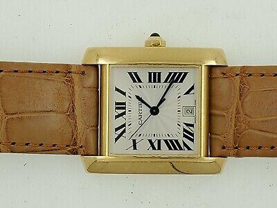 Cartier Tank Men's 18K Yellow Gold  White Roman Automatic Watch 1840