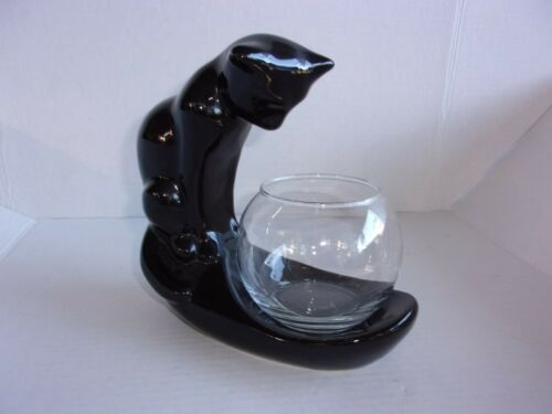 Haeger Ebony Black Cat with Fish Bowl