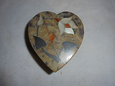 Vintage alabaster heart shaped jewelry trinket box with mop inlay