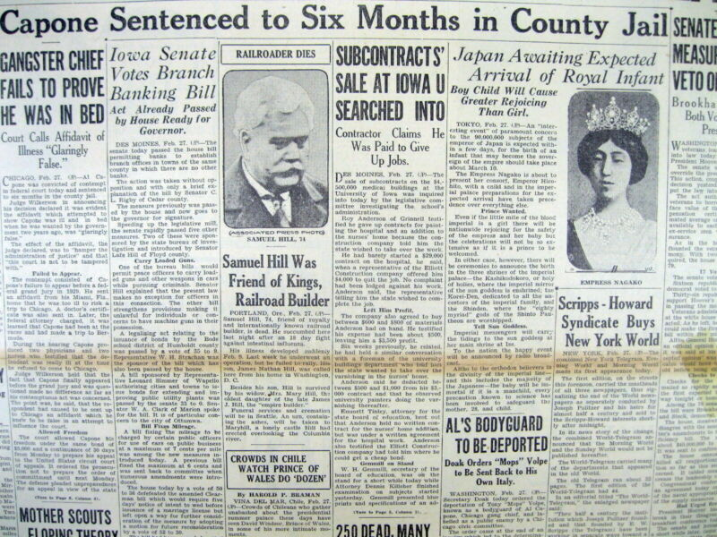 1931 newspaper Chicago GANGSTER AL CAPONE CONVICTED & Sentenced to 6 months JAIL