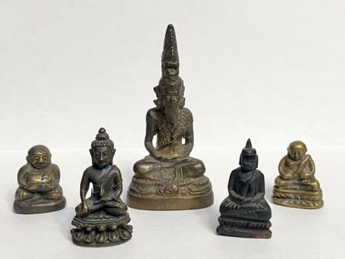 Group of 5 Small Antique Thai Miniature Bronze Buddha
