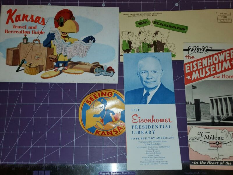 Vintage Kansas travel brochure lot travel decal