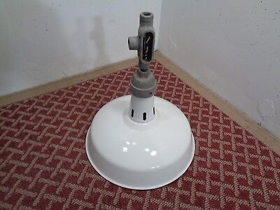 Vintage White Outdoor Barn Shed Gas Station Light Lamp Porcelain Enamel
