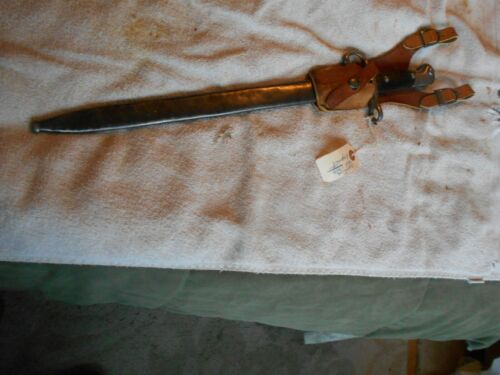 argentine model 1909 mauser rifle bayonet & matching scabbard w leather frog