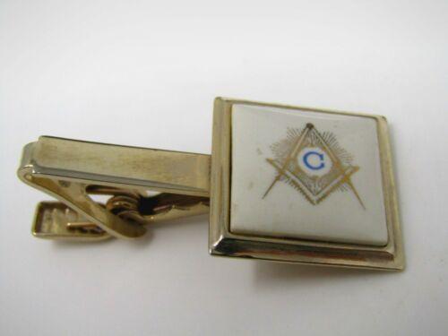 Mason C Tie Bar Clip for Men Vintage Gold Tone