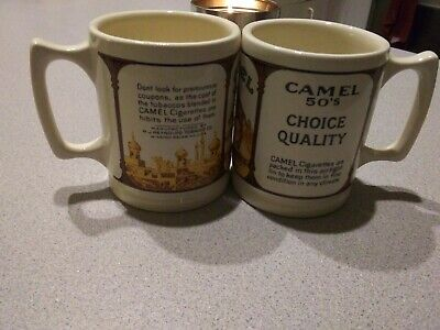 Vintage Oversized Camel Cigarettes Joe Camel Ceramic Coffee Mugs Set of Two