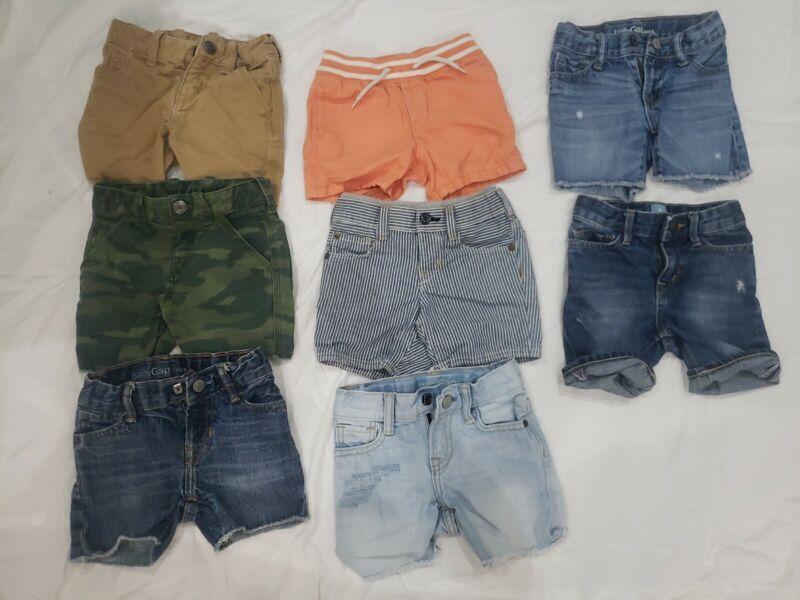 Lot of 8 Boys Shorts Size 12-18M and 18-24M Jean Shorts, Khakis, Camo, Bathing