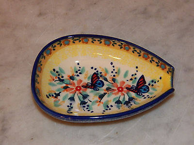 Genuine UNIKAT Polish Pottery Kitchen Spoon Rest! Butterfly Summer Pattern!