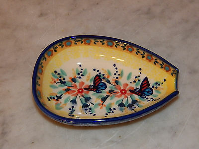 Genuine UNIKAT Polish Pottery Kitchen Spoon Rest! Butterfly Summer Pattern!