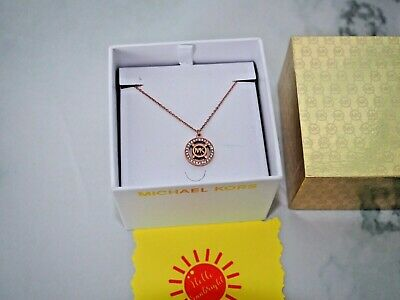 Michael Kors Iconic Cut-Out MK Logo w/ Crystals Pendant Necklace Rose Gold New   Cut Out Rose Pendant