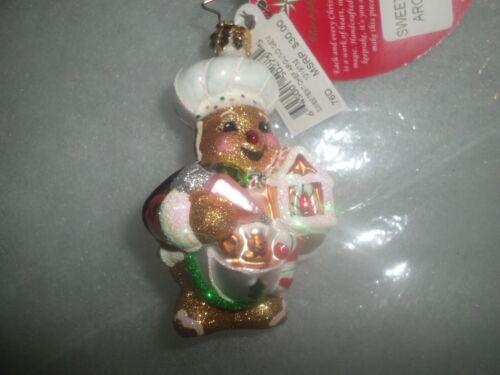 "Radko Christmas ""Sweetest Chef Around Gem "" Gingerbread Glass Ornament NWT"