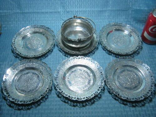 Vintage Persian Tabriz Solid Silver Bowl Saucer Dish Set Marked 1139g