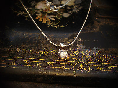 1ct Man-made Brilliant Round Cut Diamond Necklace with 925 Sterling Silver Chain