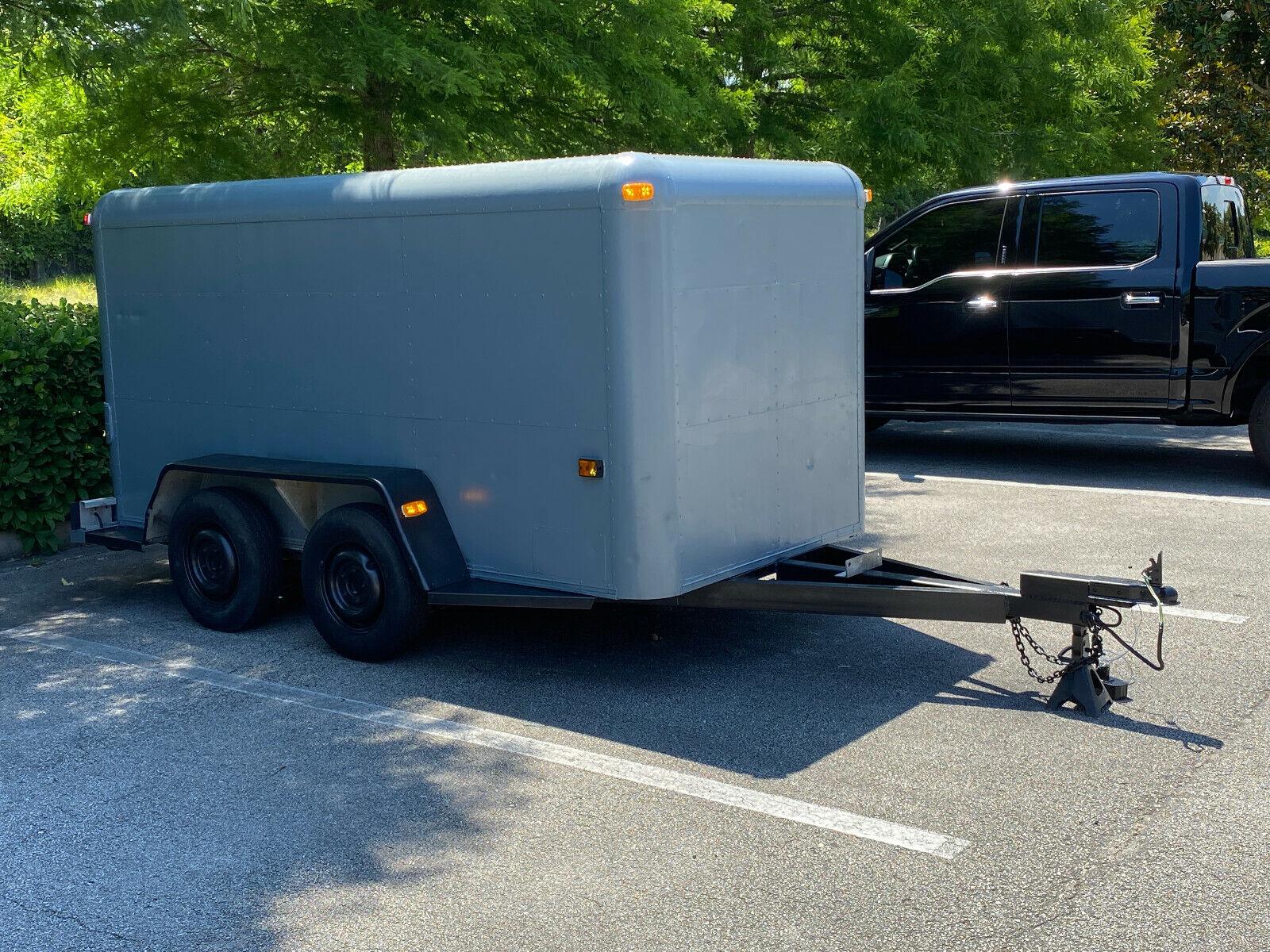5x10 Enclosed Cargo Trailer Aluminum Heavy Duty Tandem Dual Axles w/ Barn Doors