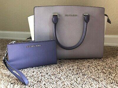NEW Michael Kors Large Selma Satchel Lilac Purple Cement Multi