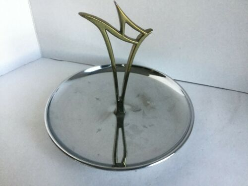 VTG 1 Tier Riviera Appetizer Desert Serving Tray Stainless Chrome Mid Century