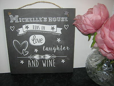 Handmade Wall Sign Chalkboard, Slate effect , Personalised Wine/Vodka/Gin (Personalized Slate Wall Plaque)
