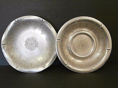 Wilson Specialties Brooklyn NY Hand Wrought Aluminum Bowls Floral Butterflies