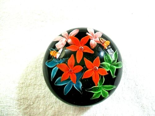 Paperweight Art Glass MULTI COLOR FLOWERS  STYLE