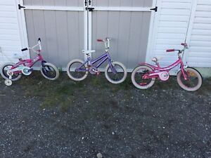 Two 16inch and one 14 inch girls bikes