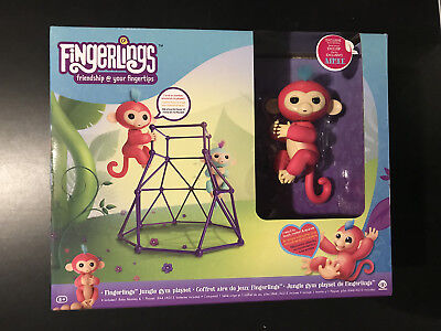 Fingerlings Jungle Gym Playset   Aimee Interactive Baby Monkey Coral Pink New