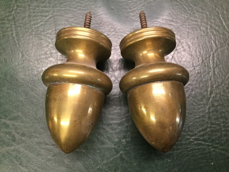 Pair of Antique Brass Acorn Finials Curtain Rods Toppers