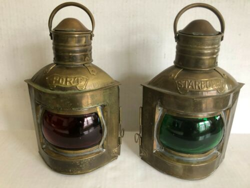 (1) Pair of Port & Starboard Brass Nautical Lamps