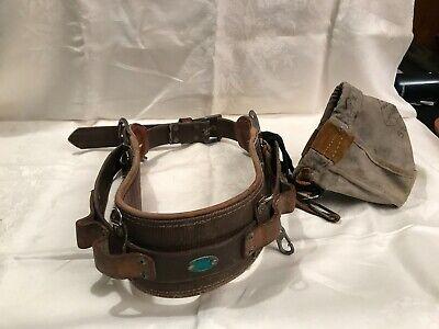 Bashlin Leather Lineman Service Climbing Belt With Bag