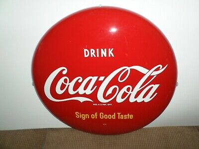 """1950"""" RED COCA COLA BUTTON 16"""". SIGN OF GOOD TASTE   AM88"""